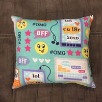 "Cute Handmade Fleece Emoji / Texting Accent - Throw Pillow 10"" x 8"""