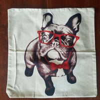 "Bulldog DOG FUNNY Accent PILLOW CASE Cover Linen Cotton 17"" x 17"" NEW 2X"