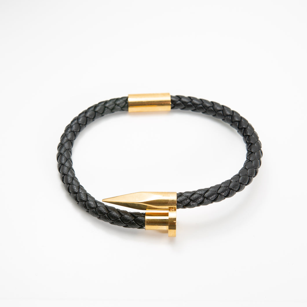 Crucify Leather Bracelet Gold