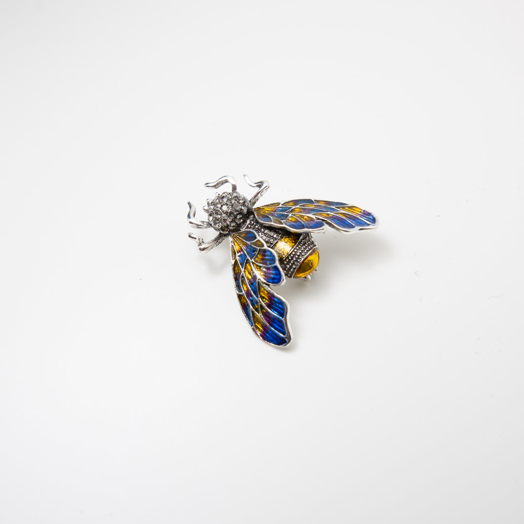 Morris Moth Pin Blue/Gold