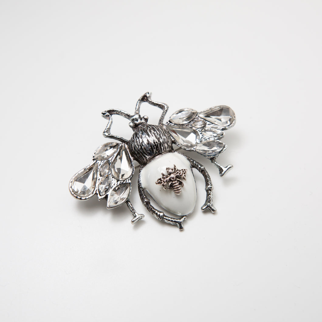 Vintage Bee Pin White