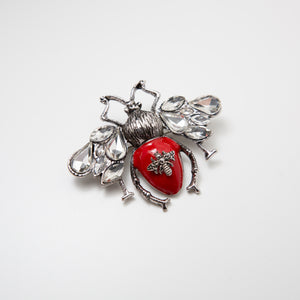 Vintage Bee Pin Red