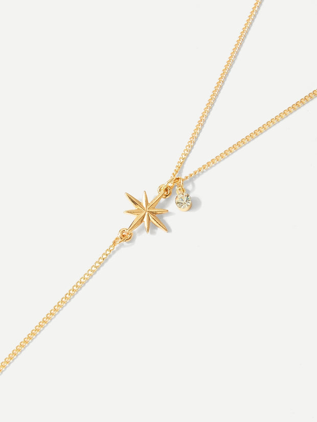 Bar & Starfish Pendant Chain Necklace