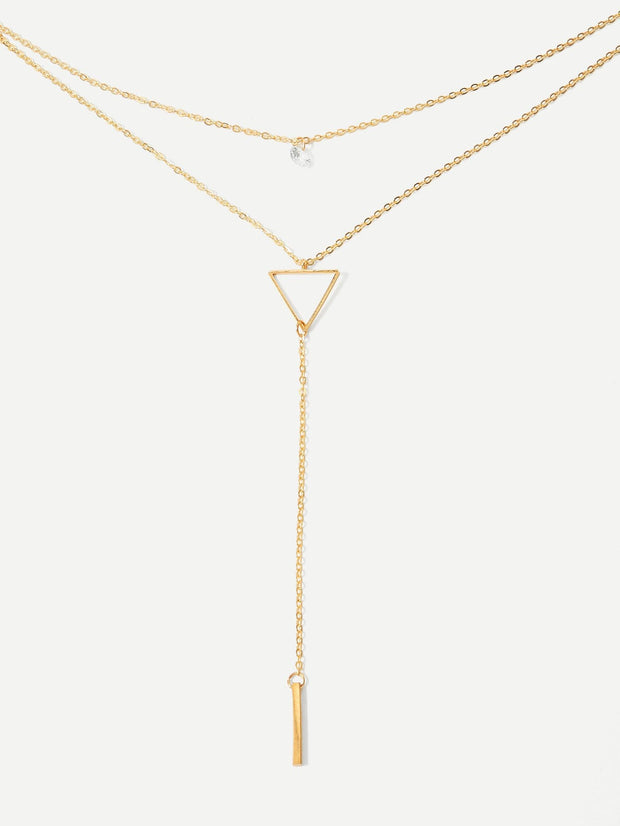 Bar & Triangle Layered Lariat Necklace