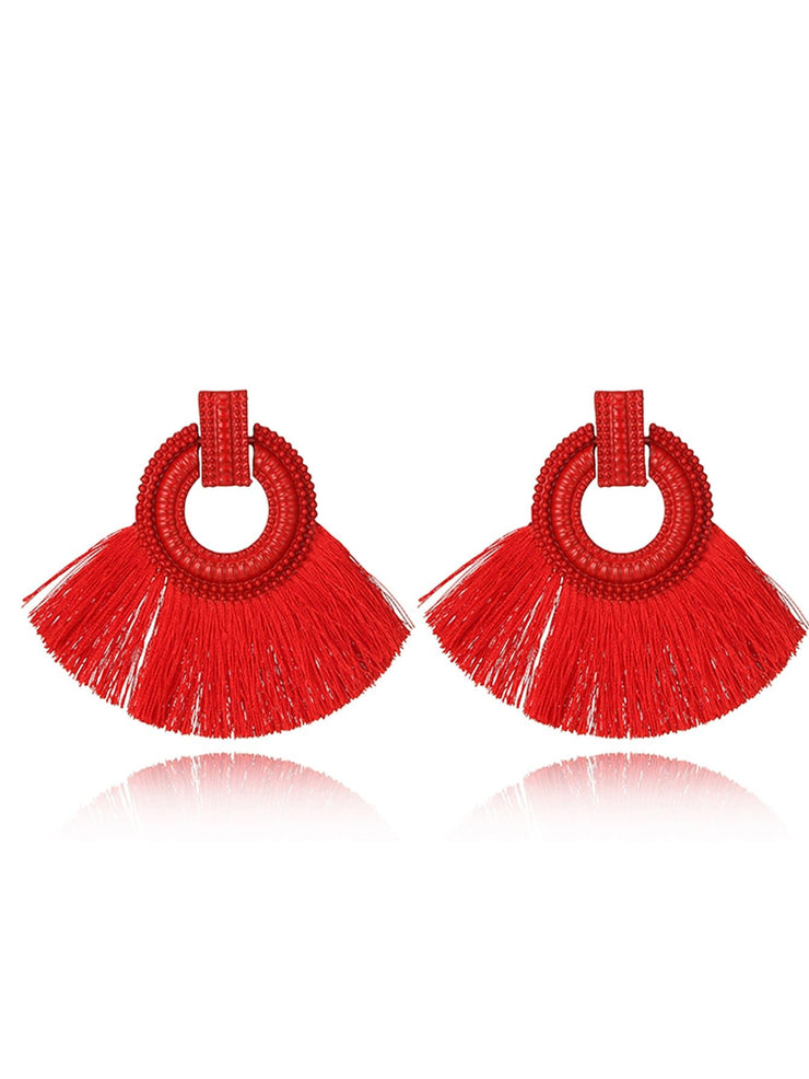 Circle & Tassel Statement Earrings