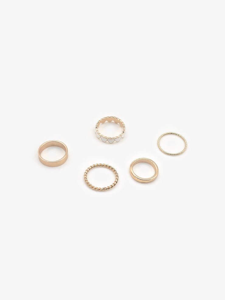 Heart & Plain Ring Set