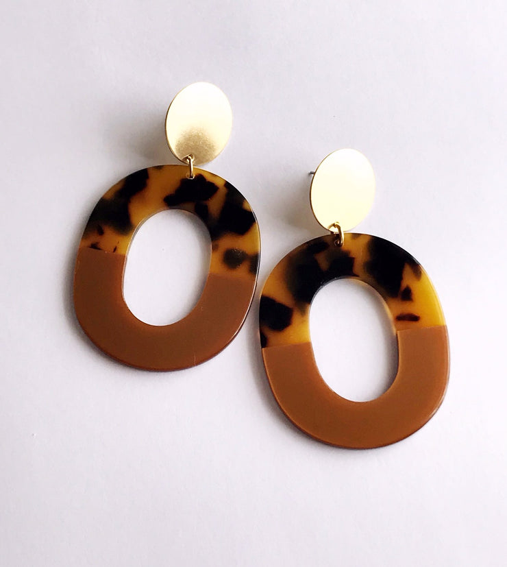 coco earrings - tortoise / bronze