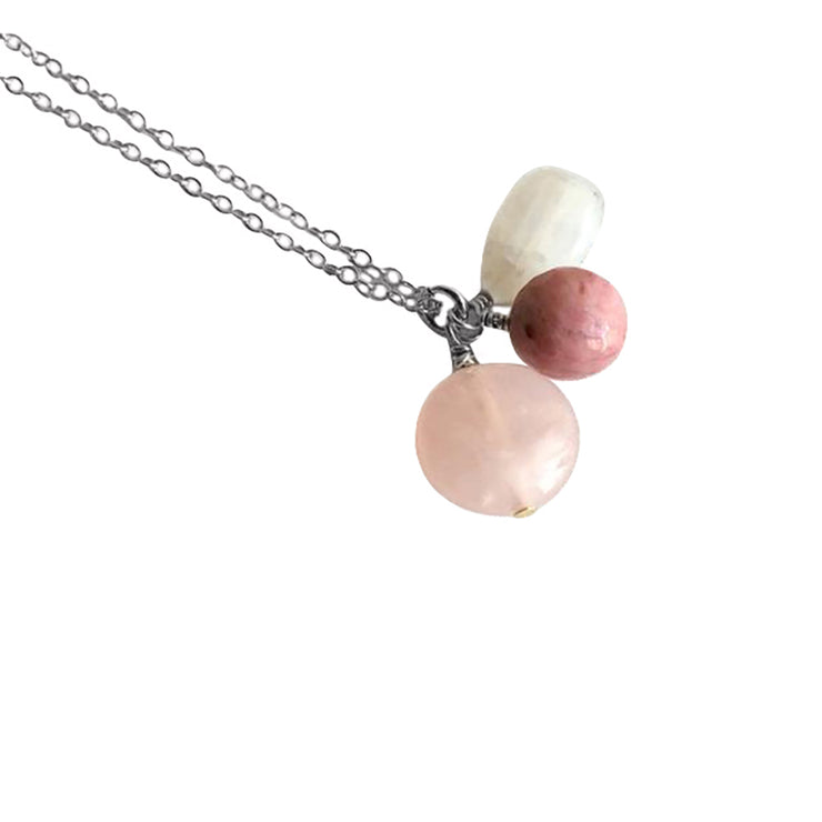 Moonstone, Rhodonite And Rose Quartz Sterling