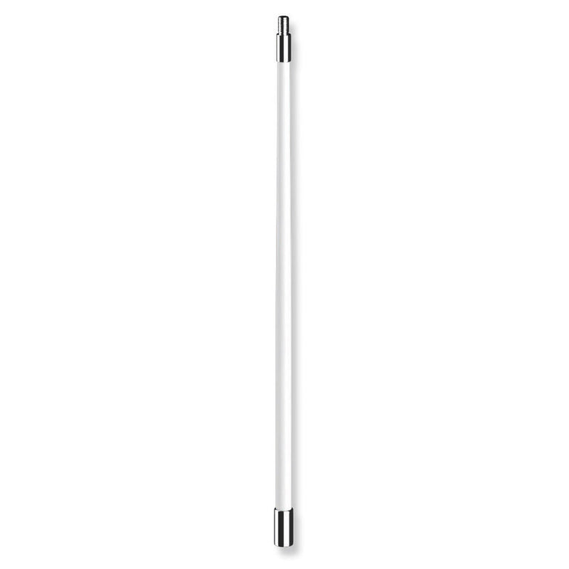 One-piece antenna with stainless base and head.