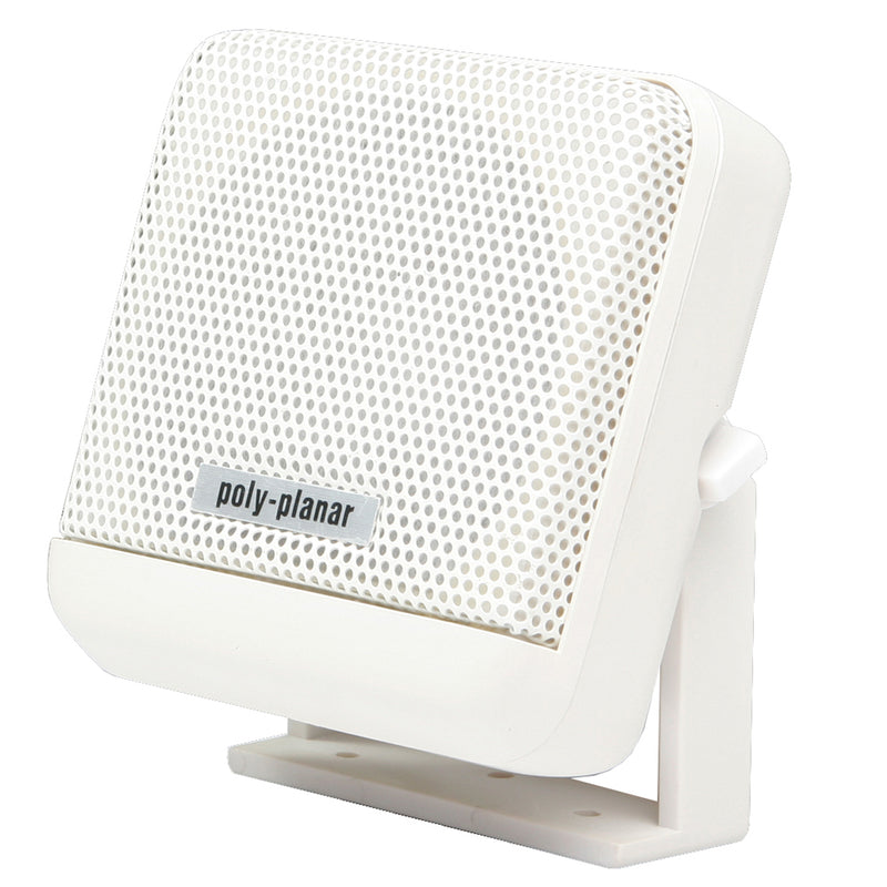 Square white speaker with swivel base and poly-planar logo on the lower center of face.