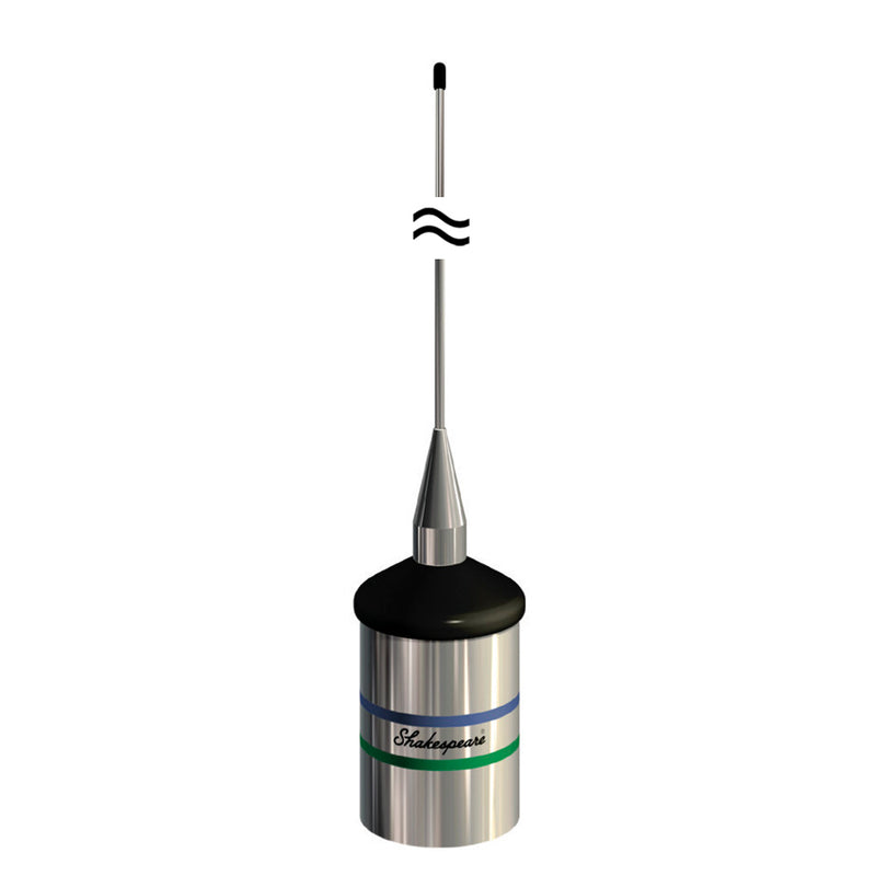 Wide cylindrcial stainless steel base and tip of antenna