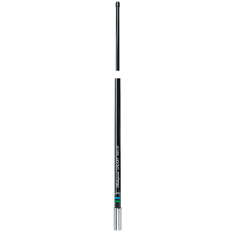 Black upright antenna with stainless steel end.