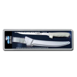 filet knife and white sheath in packaging