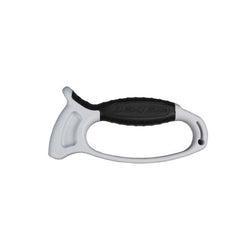 white hand held knife sharpener with black grip
