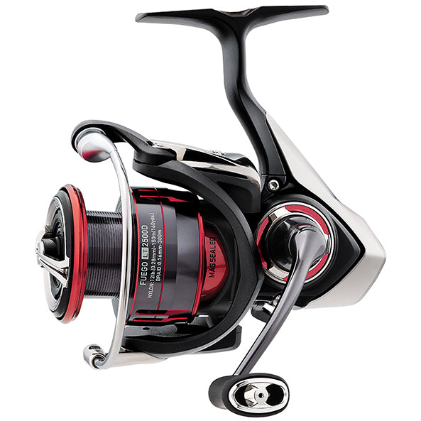 Black reel, silver accents and red-black spool