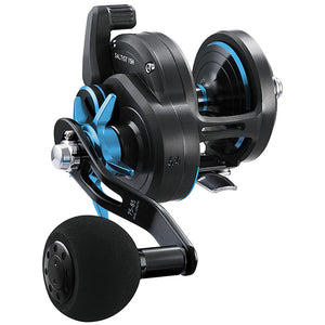 Black conventional reel with sky blue accents