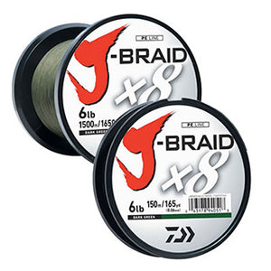 Dark green braid on plastic spool with white sicker and red logo.