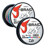 Multi color braid on plastic spool with white sicker and red logo.