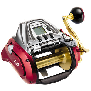 Red sides, gold spool. Silver center with buttons and green LCD. Arm of handle is gold.