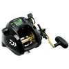 Wide black power reel. Gold spool and handle arm. Green LCD on the top center.
