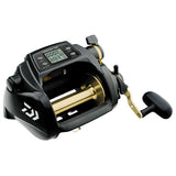 Wide black power reel. Gold spool and handle arm.