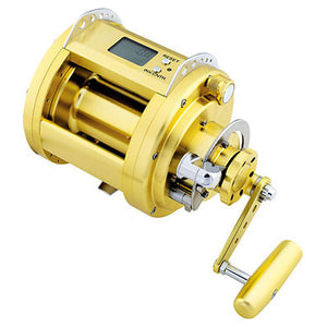 All gold large electric reel. Small green LCD scrreen on top.