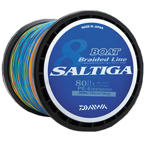 Multi color line on black spool. Label is blue with Saltiga logo.