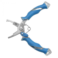 Open pliers with blue and transparent handles