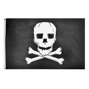 White skull on black flag