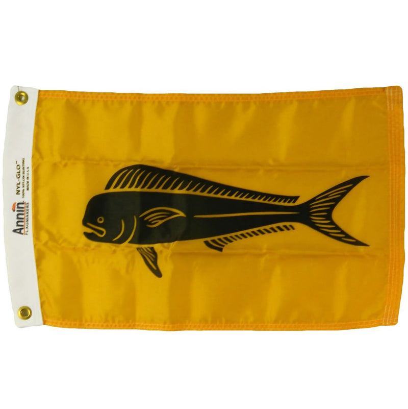Black mahi on yellow background flag