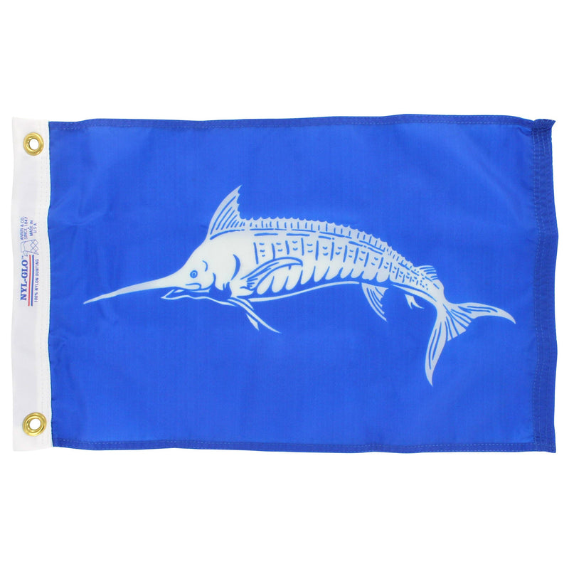 White marlin on blue background flag