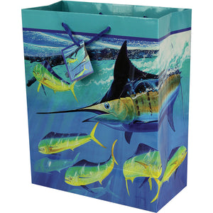 Opened gift bag depicting artwork by Guy Harvey of a marlin and dolphin.