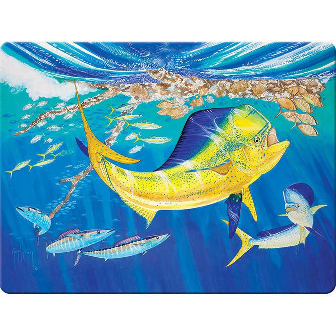 Artwork by Guy Harvey depicting Dorado swimming with other fish.