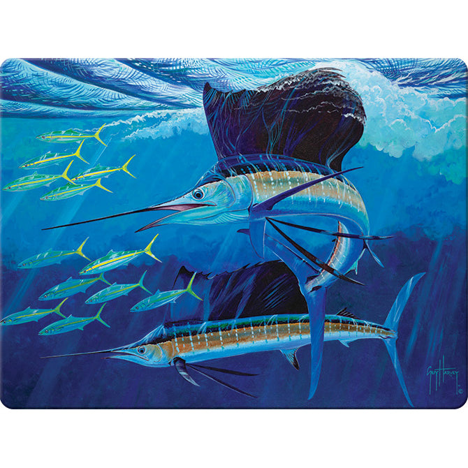 Artwork by Guy Harvey depicting a Sailfish swimming with other fish.