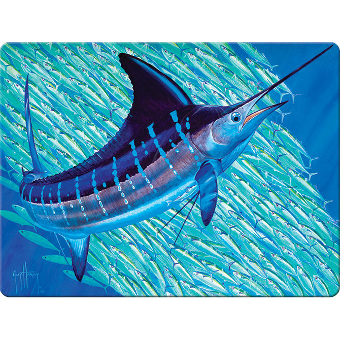 Artwork by Guy Harvey depicting Marlin swimming.