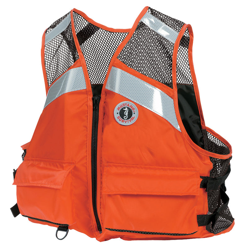 Traditional wide orange vest with two large pockets on lower end. Shoulder and upper back area is a black mesh preceded and centered with reflective strips.
