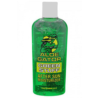Clear bottle with white cap. Green aloe gel with cartoon gator on label.