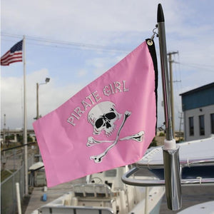 Pink flag on pole