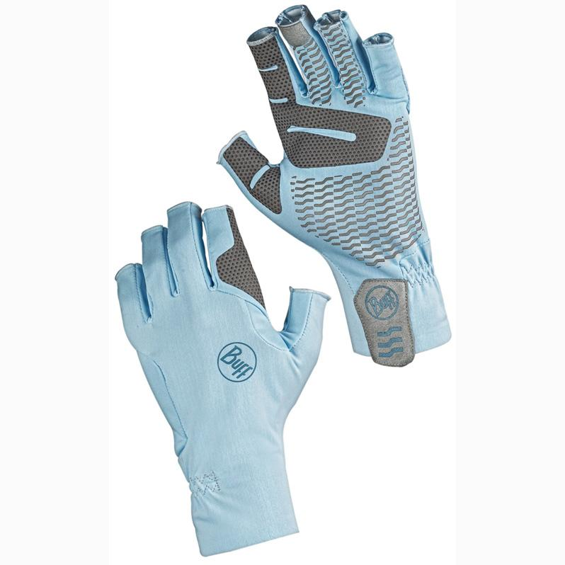 Key West pattern is sky blue with grey grips along the fingers and palm.  Back and front of gloves shown.