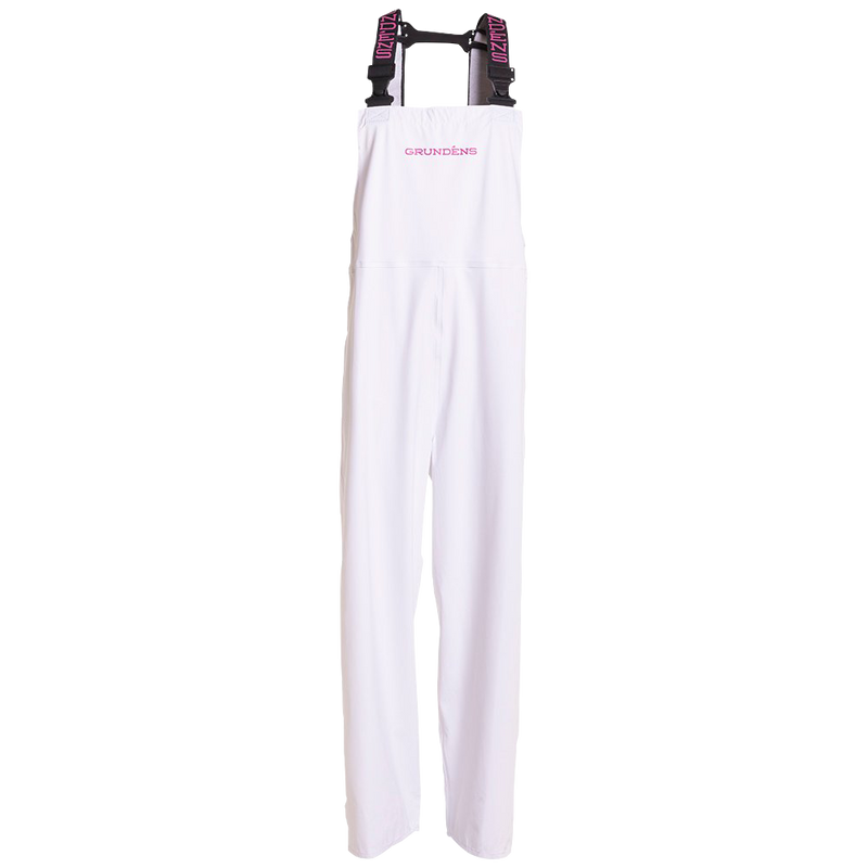 White women's bib with pink lettering
