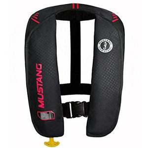 Black inflatable vest with red accents and yellow rip cord