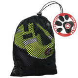 Black net bag with vest visible. Paw print on circular tag attached to end of strap.