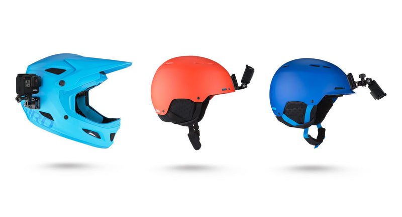 red and blue helmets with gopros mounted