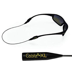 "Black sunglasses using retainer with yellow letters on end cap ""Cablz-XL"""