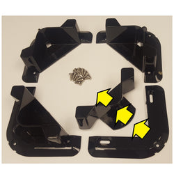Four base pieces with instructional arrows explaining construction and screws.