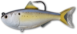 Imitation menhaden with a hook coming out of the top of its back
