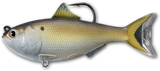 Imitation menhaden with a hook coming out by the top fin