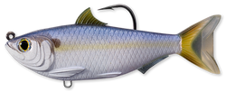Imitation threadfin shad with a hook coming out of the top of its back