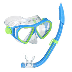 Blue and Neon Green snorkel and mask combo