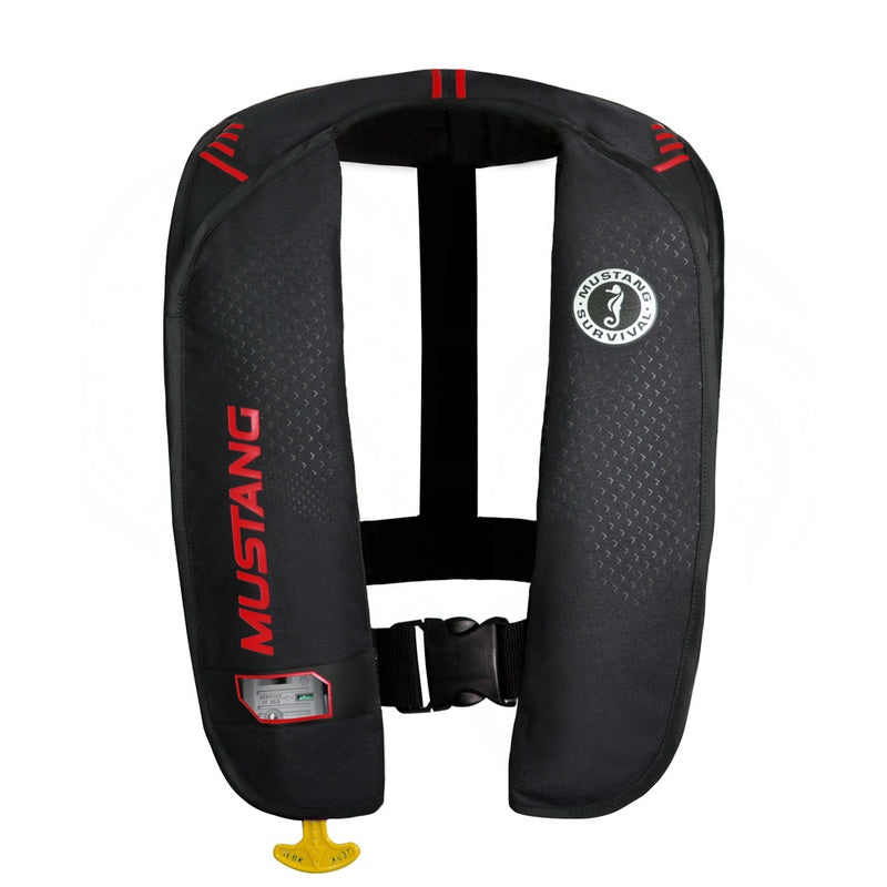 Black inflatable vest with red accents and Mustang logo. Thin back support.